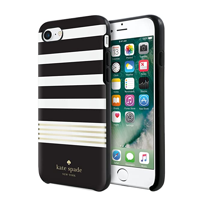 release date e34ac 59aa0 kate spade new york Protective Hardshell Case for iPhone 8, iPhone 7 &  iPhone 6/6s - Stripe 2 Black/White/Gold Foil