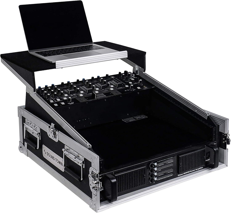 "Sound Town 2U Glide Style Rack Case with 11U Slant Mixer Top 20/"" Rackable Depth and Laptop Platform STMR-2ULT"