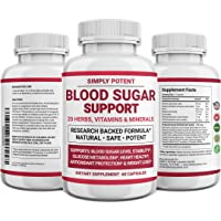 Blood Sugar Support Supplement with 20 Vitamins, Minerals & Herbs Natural Glucose...