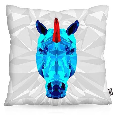 VOID Unicornio Cojín con Dibujo Funda de cojín Funda para ...