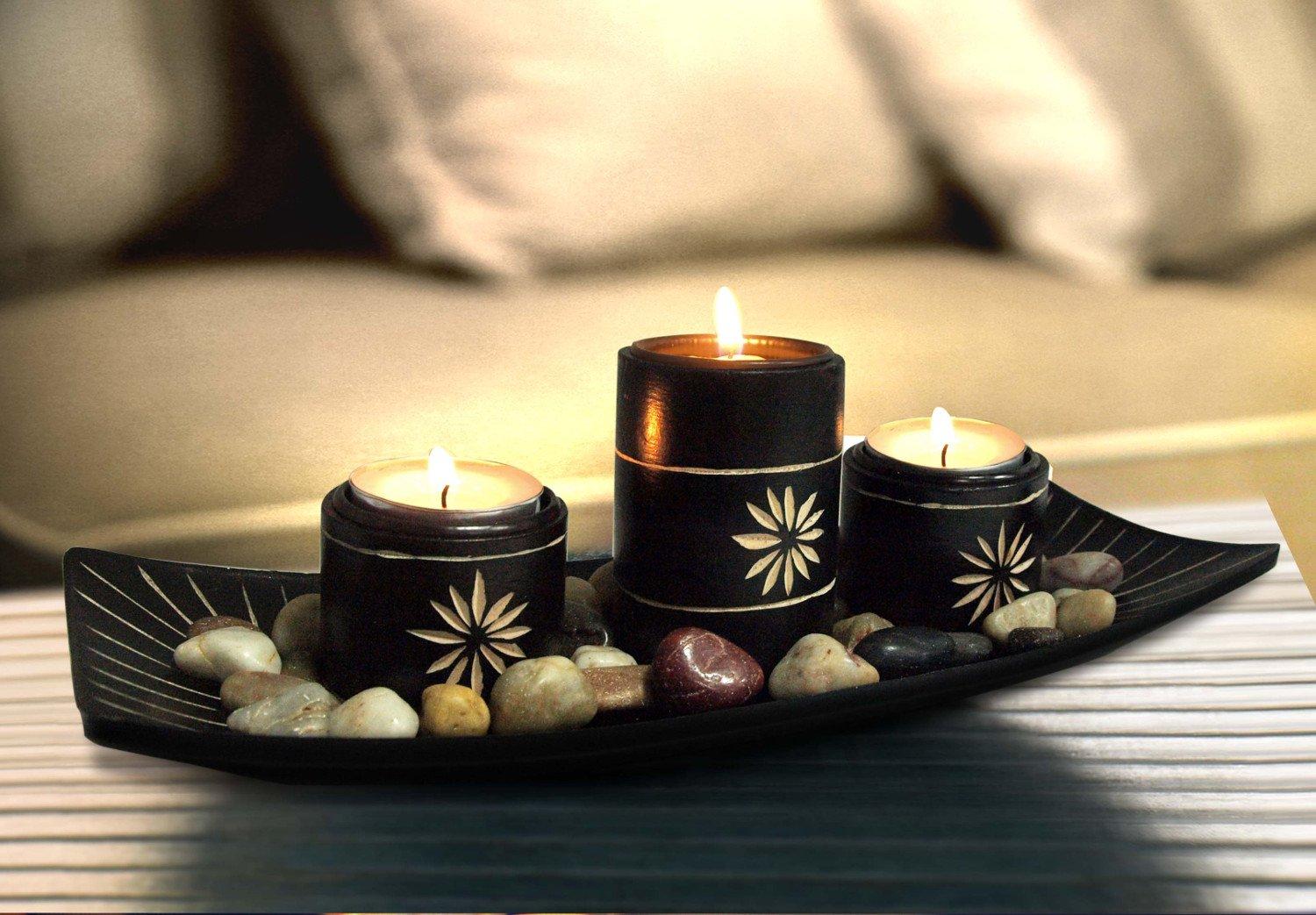 Nina Kelli bambù candele supporto + Set di candele