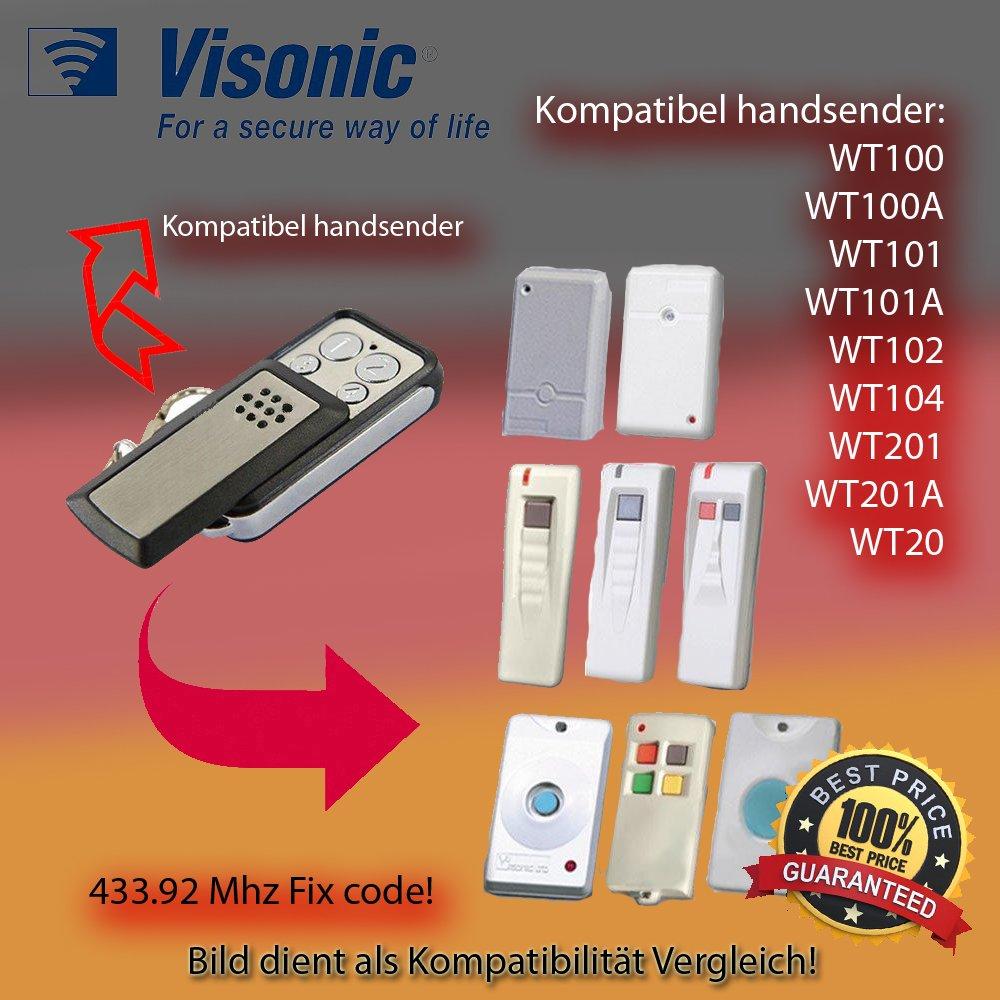 Hand-Held Transmitter 433.92 MHz for Visonic WT100, WT100 A, WT101, WT101 A, WT102, WT104, WT201, WT201 A, WT2011 Drive WT100A WT101A WT201A WT2011Drive