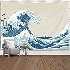 Pamime Tapastry'S Wall Hanging, Tapestry, Home Decor Tapestry Great Wave Mount Fuji Century Dorm Bedroom Living Room 80X60 Inches(200X150Cm) Inhouse,Blue White