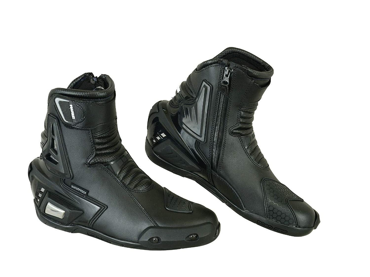 Pro First Genuine Leather Motorbike Armoured Boots Motorcycle Short Ankle Protection Boot Shoes Anti Slip Racing Sports EU 39 Full Black UK 5