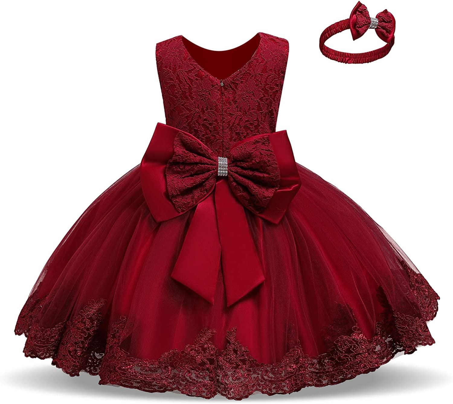 NNJXD Girls' Tulle Flower Princess Wedding Dress for Toddler and Baby Girl: Clothing