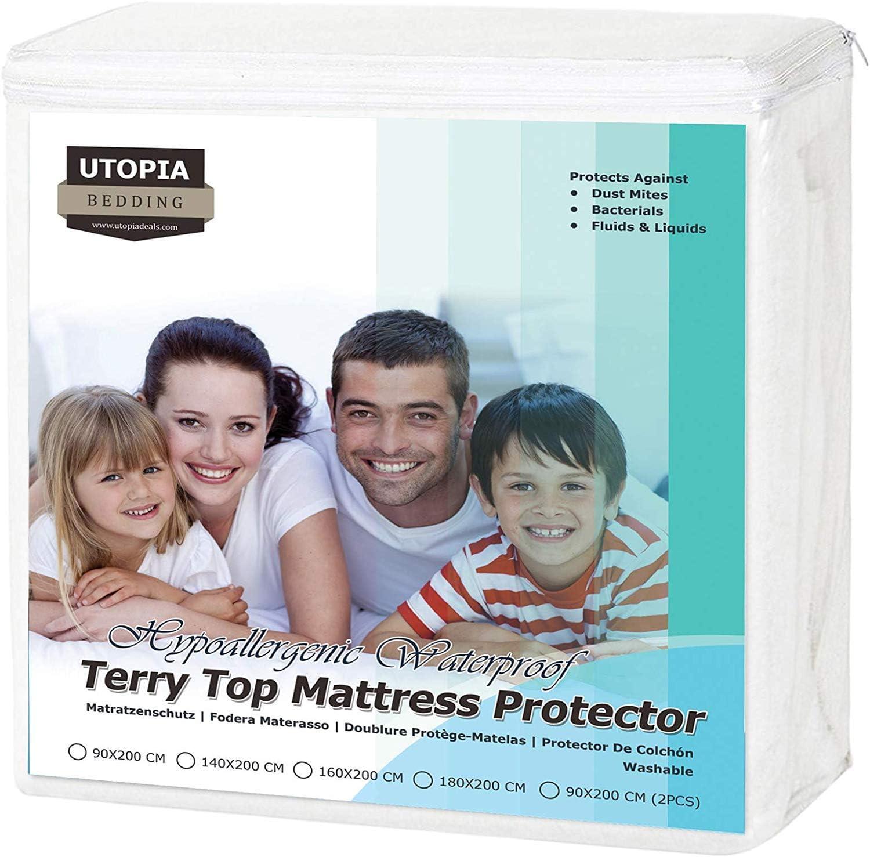 90 x 200 cm Utopia Bedding Wasserdichter Matratzenschoner Atmungsaktiv Frottee Baumwolle Oberteil