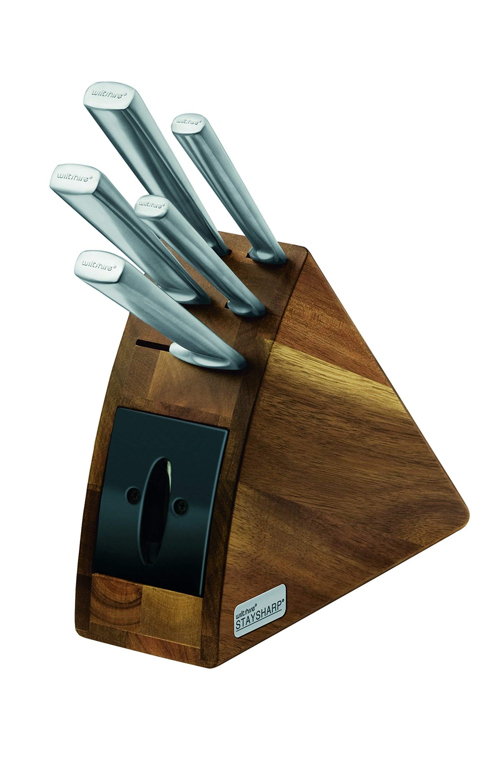 Wiltshire 6 piece Knife Block Set with Built in Sharpener and Locking Sheath