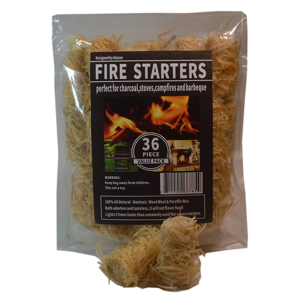 100% All Natural Charcoal Fire Starters Waterproof,Super Fast Lighting,Perfect for Barbecue Grills, Kamado, Smokers, Wood Stove and Campfire (36pieces) Ltd.