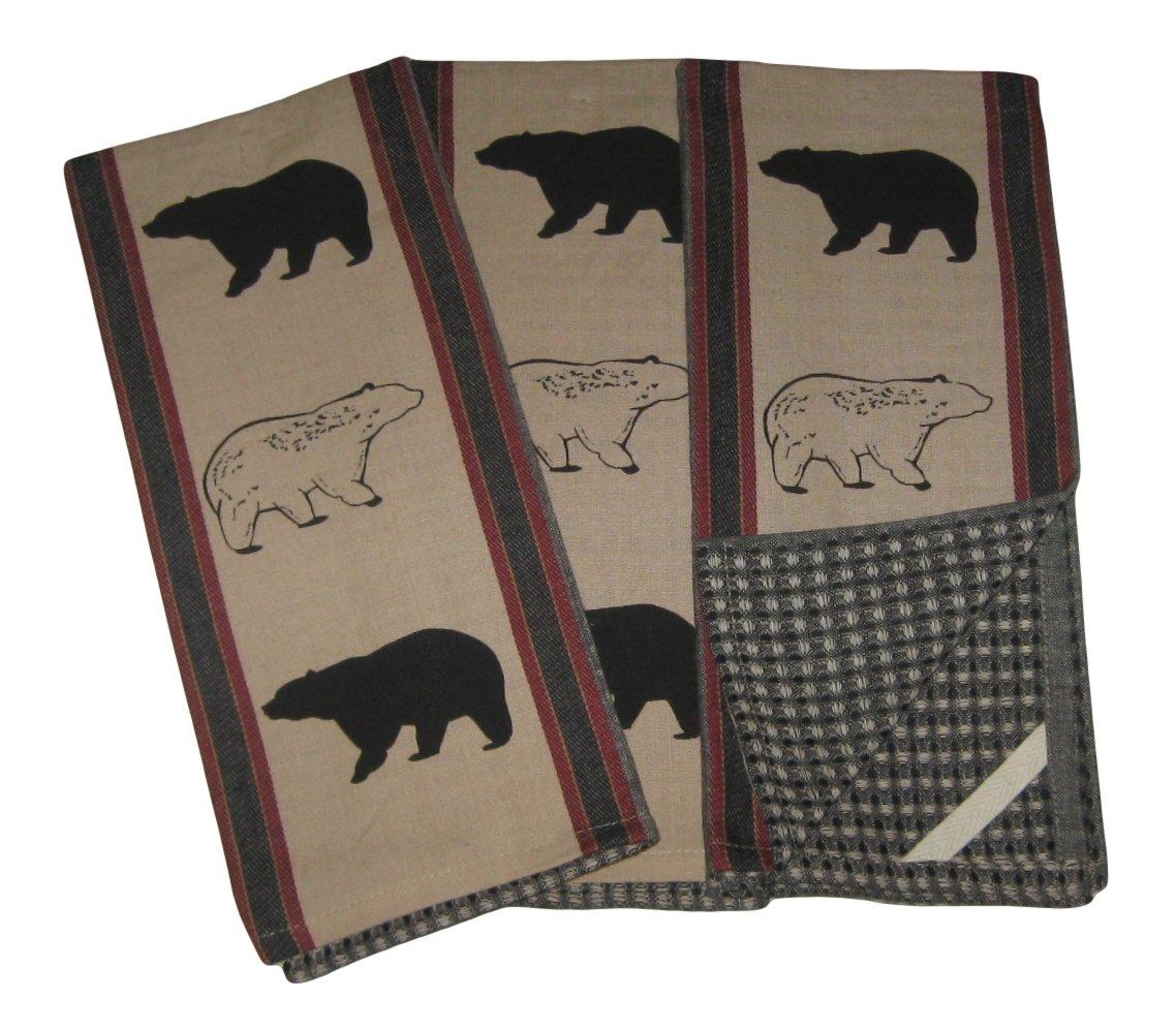 Black Bears Cotton Kitchen Dish Towels Set of 3