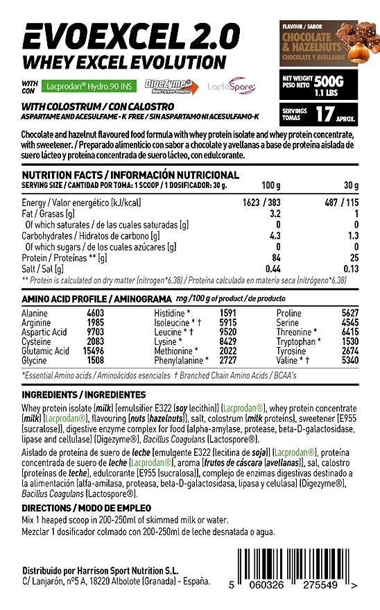 Whey Protein Isolate + Whey Protein Concentrate Evoexcel 2.0 de HSN Sports, Sin Gluten, Apto Vegetariano, Sabor Tarta Queso Frutas Bosque, 500 gr