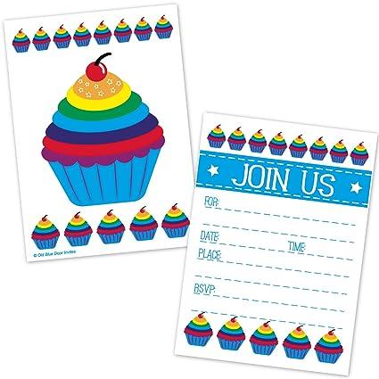 Amazon old blue door invites rainbow cupcake birthday party old blue door invites rainbow cupcake birthday party invitations for kids or adults 20 count filmwisefo