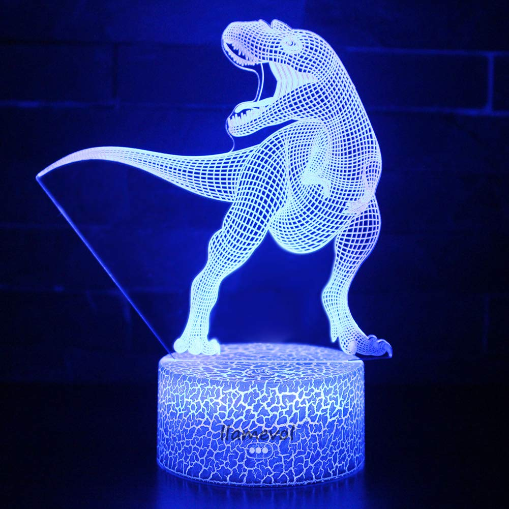 Night Light 3D lamp 7 Colors Changing Nightlight with Smart Touch Control 3D Night Light for Kids Room Decor or Perfect Gift for Kids Bedroom Theme Decor (Dinosaur Tyrannosaurus) by LLAMEVOL (Image #5)