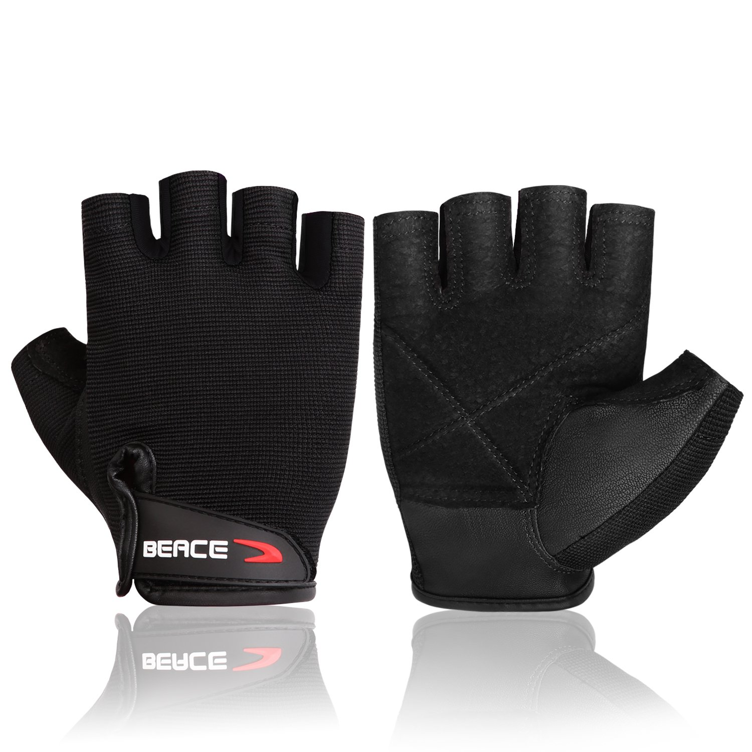 BEACE Weight Lifting Gym Gloves with Anti-Slip Leather Palm for Workout Exercise Training Fitness and Bodybuilding for Men & Women by BEACE