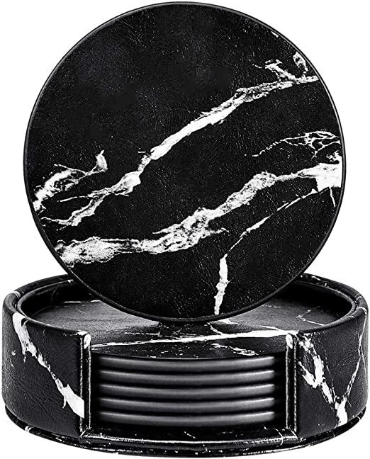 Thipoten Set of 6 PU Coaster set with Holder Protect Furniture from Water Marks Scratch and Damage Leather Coasters Black, Round
