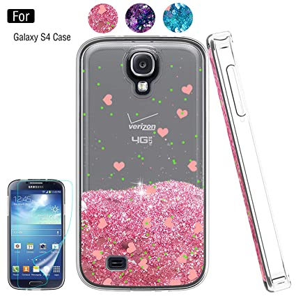 Galaxy S4 Liquid Case,S4 Case, Galaxy S4 Case with HD Screen Protector for Girls Women,Atump Bling Shiny Moving Quicksand Liquid TPU Protective Phone ...