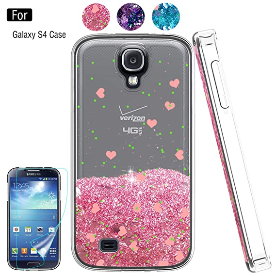 100% authentic fc252 95e1f Galaxy S4 Liquid Case,S4 Case, Galaxy S4 Case with HD Screen Protector for  Girls Women,Atump Bling Shiny Moving Quicksand Liquid TPU Protective Phone  ...