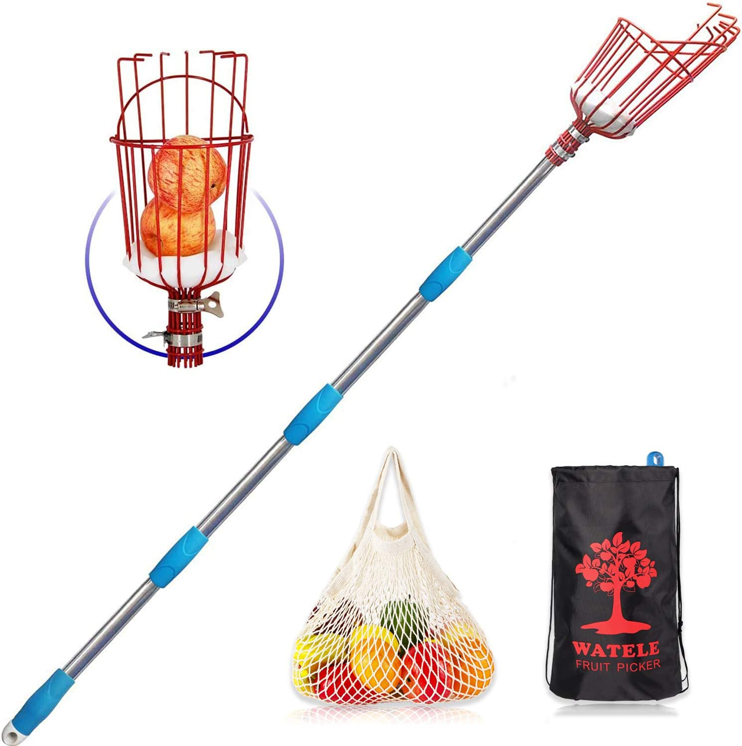 WATELE Fruit Picker Pole Tool(8FT)-Include Fruit Picker Basket,Tool Storage Bags and Fruit Bags,for Pick Apples,Oranges and Fruit Trees