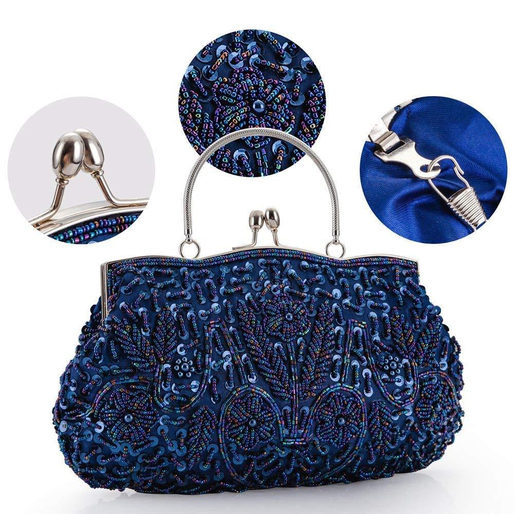 5f19544906b21 LONGBLE Frau Blau Clutch mit Perlen Pailletten Schulterketten
