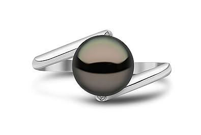 Kimura Cultured Black Freshwater Pearl and Diamond Ring, 9 ct