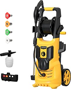 WestForce 3500/2950 PSI Electric Pressure Washer, 1.85 GPM Electric Power Washer, 1800 W High Power Washer with 5 Nozzles, Hose Reel, Detergent Tank for Homes, Cars, Driveways, Patios