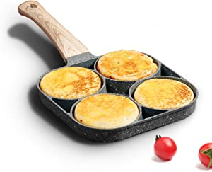 MIUGO four-cup egg pan, medical stone non-stick frying pan, compatible with all heat sources (3-inch eggs)