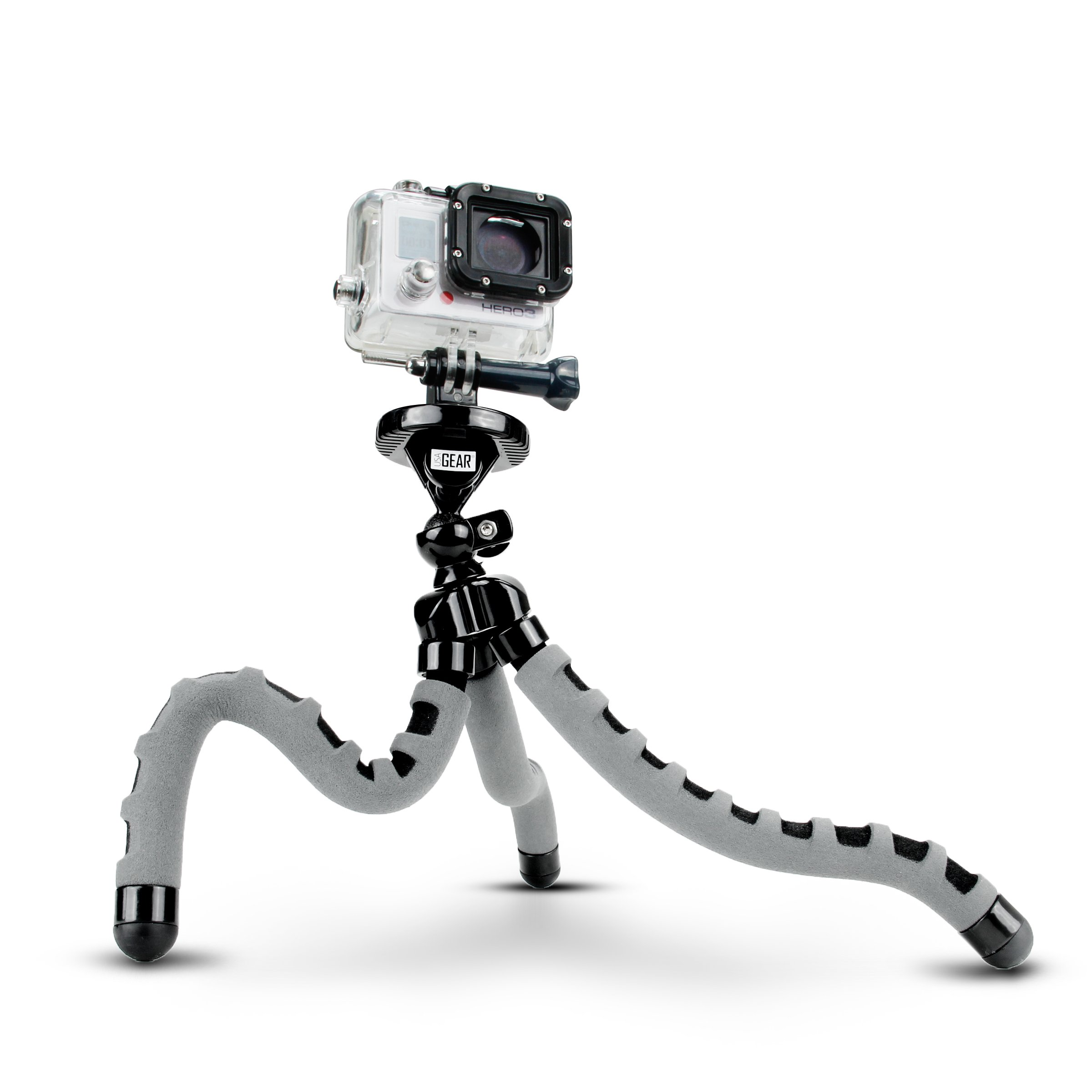 USA Gear Flexible Camera Tripod with 360-Degree Rotating Mount, Standard Socket Adapter, and Quick-Release Plate Works with Canon EOS Rebel T6, Rebel S2, EOS 80D, Nikon D5 and Many Others! by USA Gear