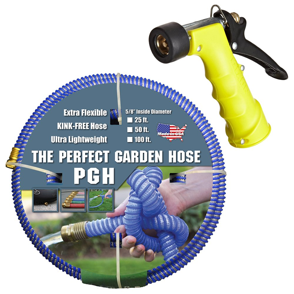 Tuff-Guard 001-0106-0300-SN75 Thermoplastic Elastomer/Polyester/Polypropylene (PP)/Brass The Perfect Garden Hose, Coupled Male x Female GHT, 5/8'' x 25', Blue, GHT Thread, 25' Length, 0.63'' ID by Tuff-Guard