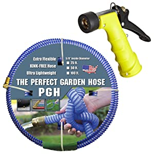 "Tuff-Guard 001-0106-0600-SN75 Thermoplastic Elastomer/Polyester/Polypropylene (PP)/Brass The Perfect Garden Hose, Coupled Male x Female GHT, 5/8"" x 50', Blue, GHT Thread, 50' Length, 0.63"" ID"