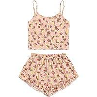 SheIn Mujeres Flamingo impresión Cami Parte Superior y Juego de Pijama de Pantalones Cortos