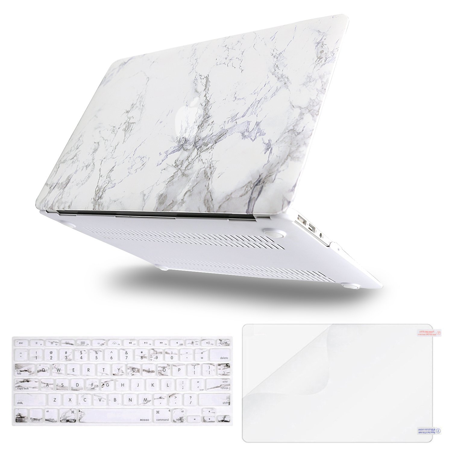 MOSISO Plastic Pattern Hard Case & Keyboard Cover & Screen Protector Only Compatible MacBook Air 13 Inch (A1369 & A1466), Not Compatible 2018 MacBook Air 13 in with Touch ID, White Marble
