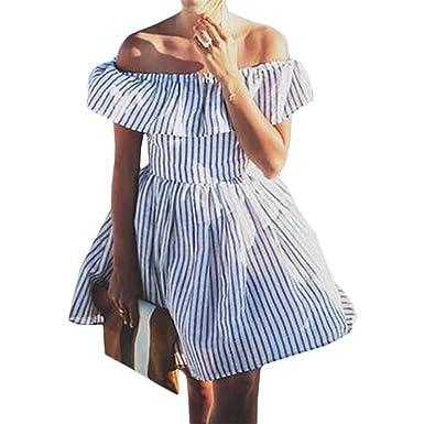 Summer Women Striped Off Shoulder Dress Beach Bandage Mini Dresses Vestidos
