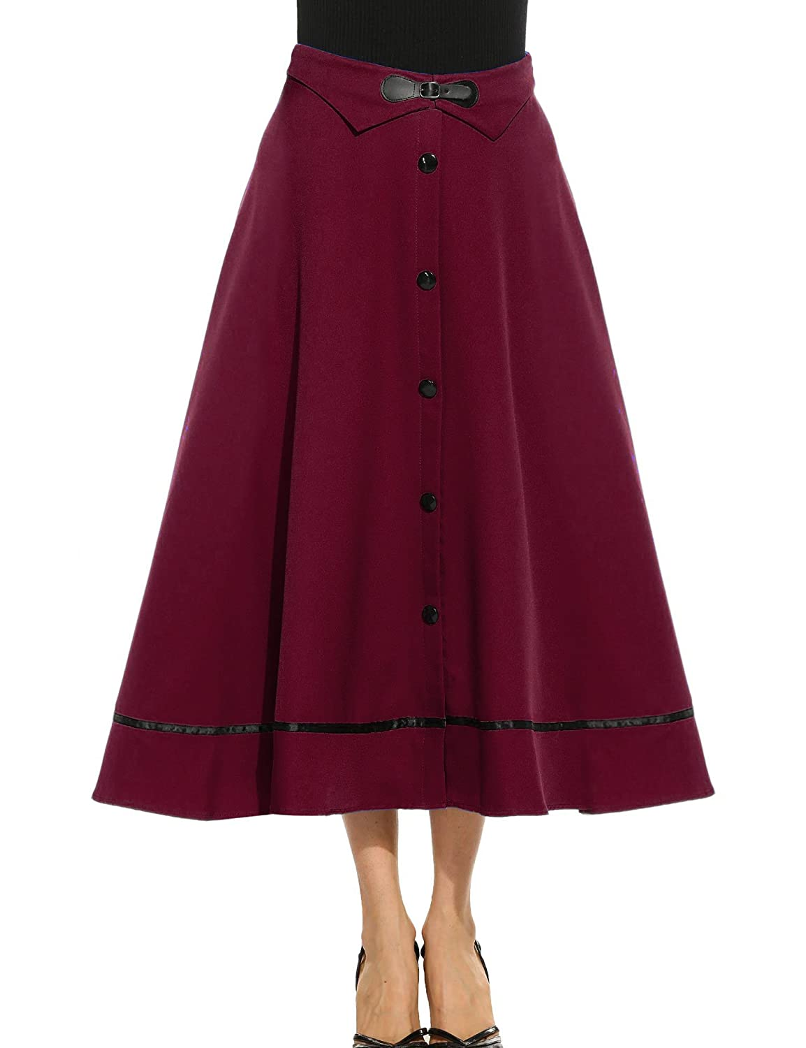 1900 -1910s Edwardian Fashion, Clothing & Costumes ANGVNS Womens Vintage High Waist Button Down Pleated Swing Skirt $18.99 AT vintagedancer.com