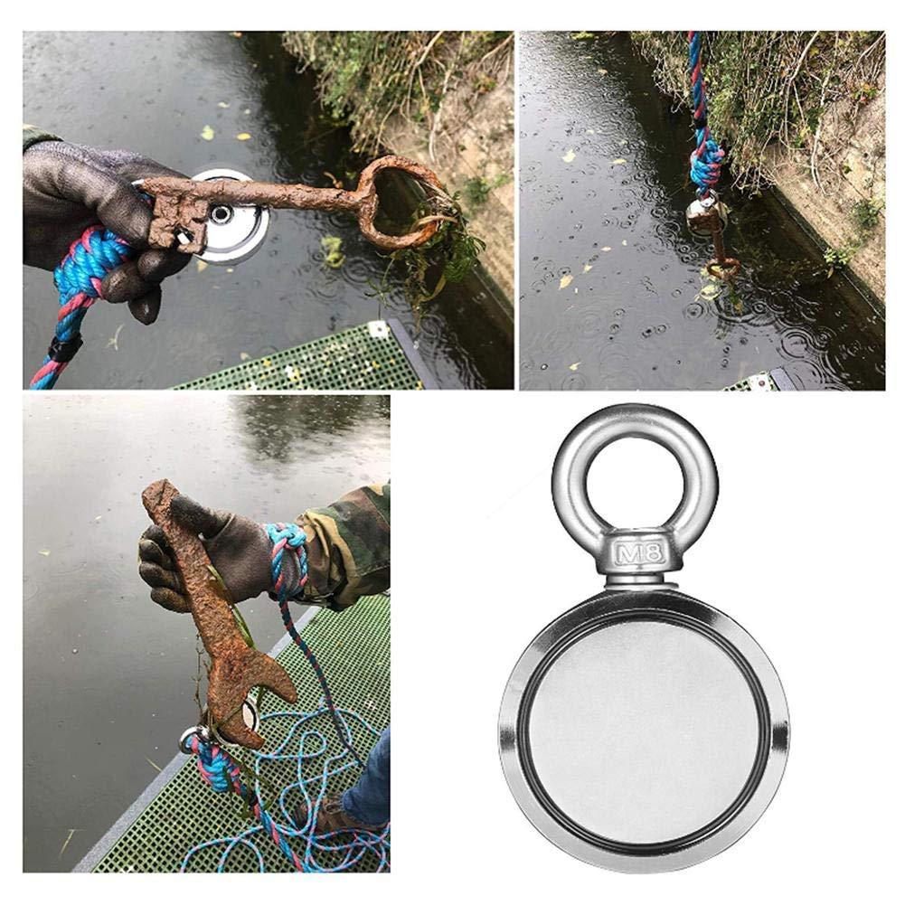 kombiniert 320 kg Tiefwasserrettung und Erholung im Fluss Durchmesser 60 mm Doppelseitiger Neodym-Magnet extrem starke Traktion f/ür Magnetfischen