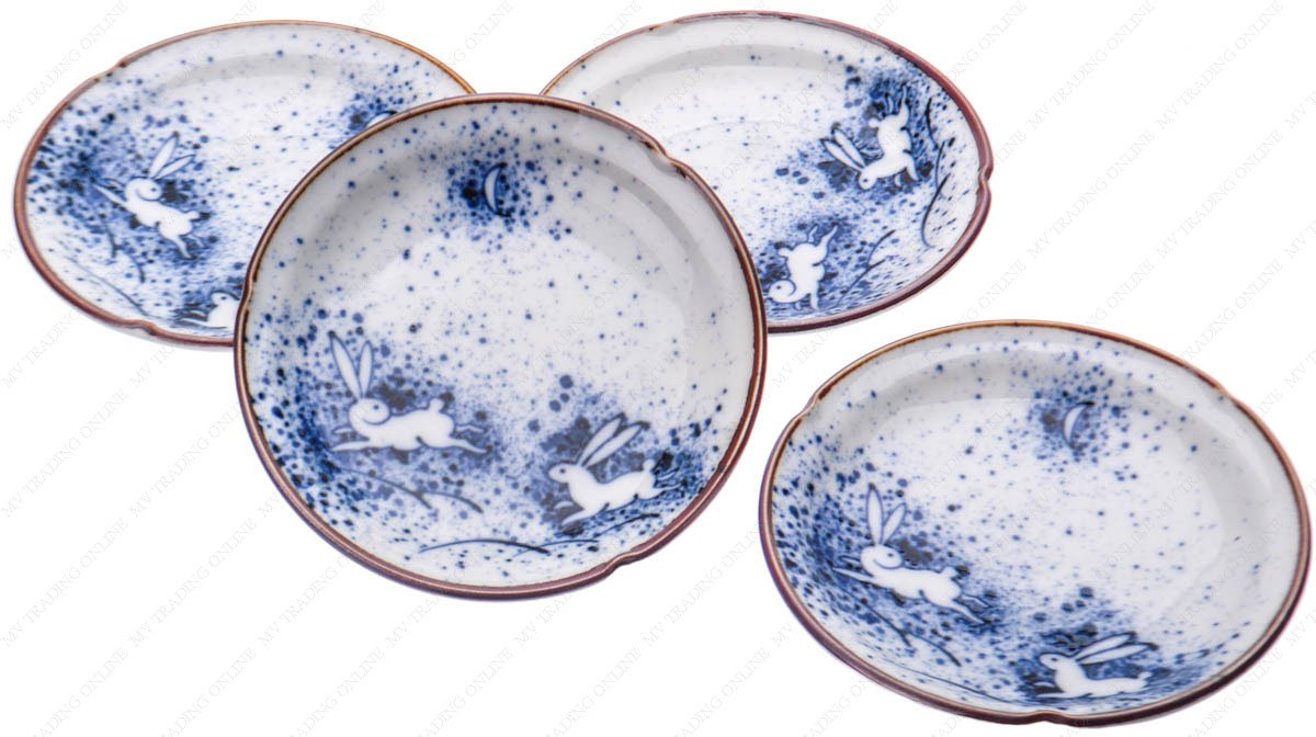 Japanese Porcelain Sushi Wasabi Soy Sauce Dipping Dishes, Blue Moon Rabbit, 3-5/8 Inches Dia. X 7/8 Inhces High, Set of 4 Saucers M.V. Trading MKT160028V