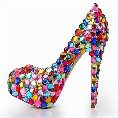 2017 nouvelles chaussures de mariage bouche tête talons super-haute diamant de couleur ronde peu profonde chaussures en cuir de mode mis en boîte de nuit à pied