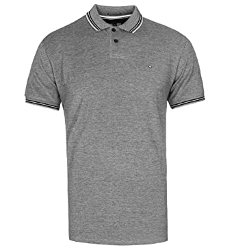 Weekend Offender Black & Quartz Short Sleeve Pique Polo Shirt ...
