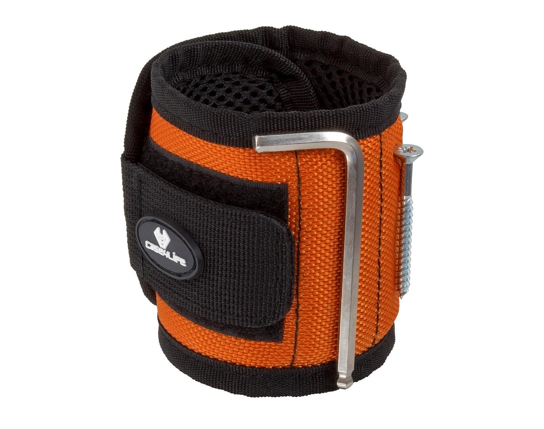 Case4Life Bricolage DIY Bracelet Magnétique avec 10 Aimants - Parfait pour tenir Vis, Ongles, Boulons, Forets + Petits outils Noir/Orange - Garantie à vie Forets + Petits outils Noir/Orange - Garantie à vie 64-AMZ