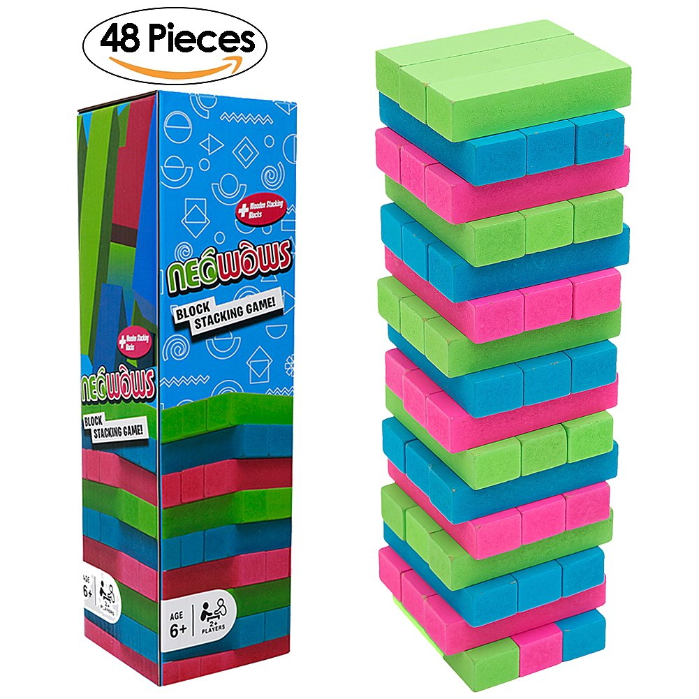 NEOWOWS Stacking Board Games Wooden Building Blocks Tower Camping and Lawn Games for Kids - 48 Pieces