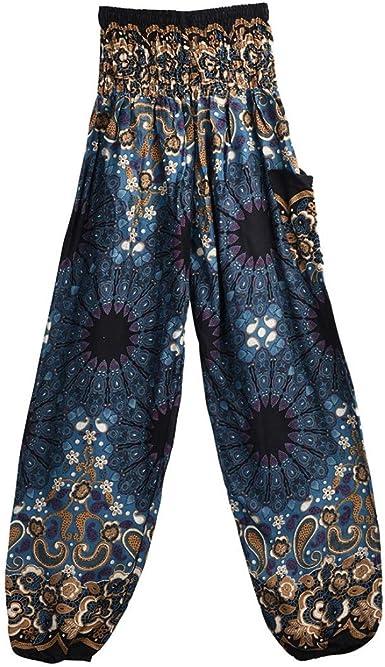 MY HOPE Thai Elephant Pants Hippie Women Harem Trousers Pantalones Blue Color