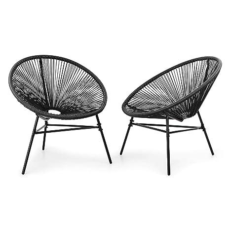 Blumfeldt Las Brisas Chairs sillas para Exteriores - Lote de 2, Diseño Retro, Tiras de Mimbre de 4 mm, Montura Hecha de Acero con Revestimiento en ...