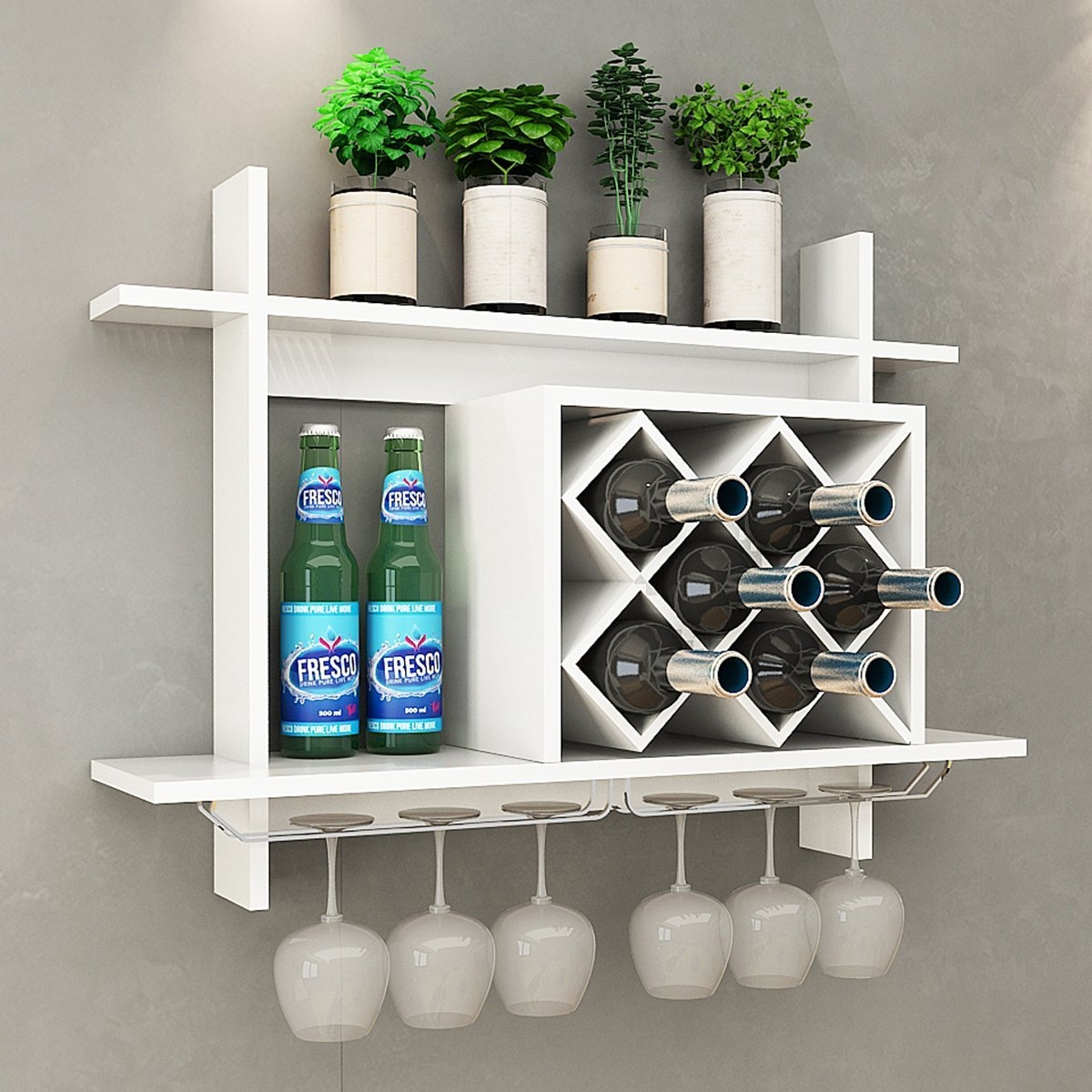 Giantex Wall Mounted Wine Rack Organizer W/Metal Glass Holder & Multifunctional Storage Shelf Modern Diamond-Shaped Wood Wine Server for 6 Bottles Wine Storage Display Rack (White) by Giantex