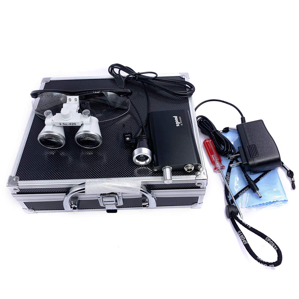 Zgood Portable Surgical Medical Binocular Loupes 2.5×420mm Optical Glasses with 3W LED Headlight Lamp + Aluminum Box (Black)
