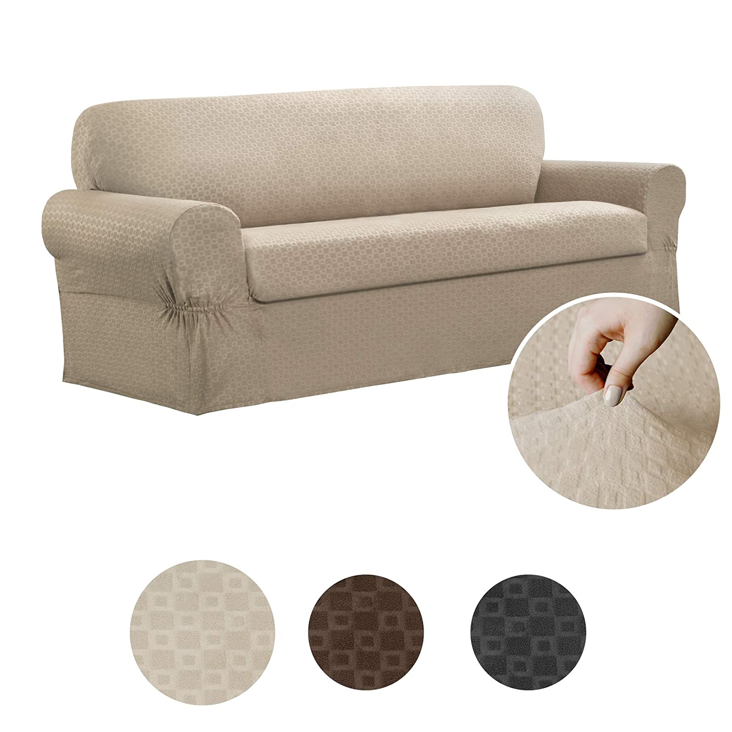Maytex Conrad 2-Piece Sofa Furniture Cover / Slipcover, Sand