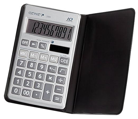 5 opinioni per Genie 330- Calcolatrice tascabile Business con display a 10 cifre e coperchio,