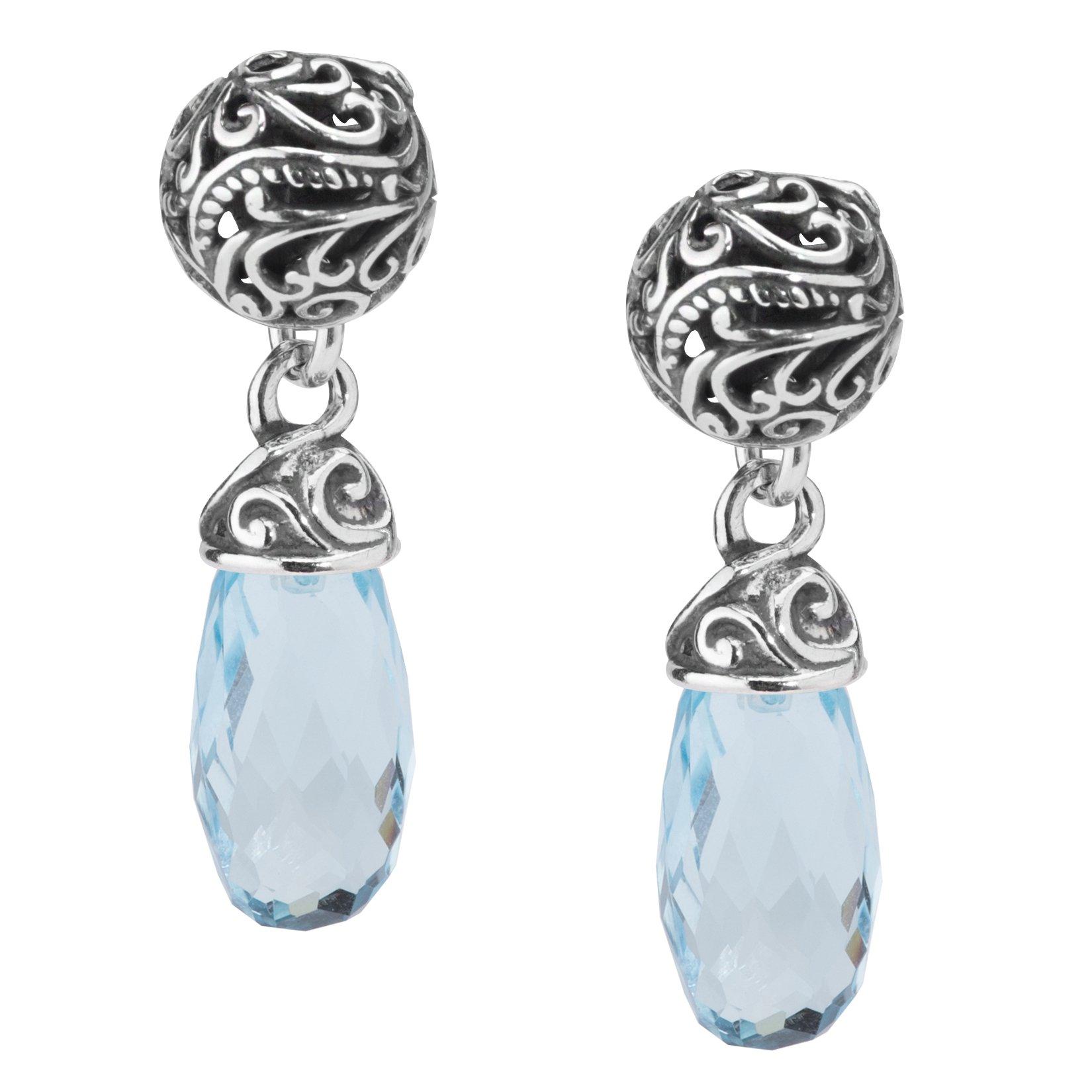 Carolyn Pollack Sterling Silver Blue Topaz Drop Earrings