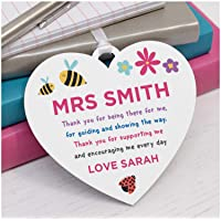 Teacher Thank You Gifts - PERSONALISED End of Term Gifts for Teacher, Teaching Assistant, Key Worker, TA - Teacher Appreciation Presents - Female Teacher Gifts - Wooden Heart Plaque Gifts for Teacher