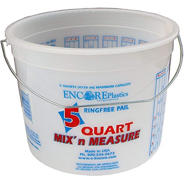 Encore Plastics 5166 Mix 'N Measure Ringfree Plastic Pail with Wire Handle, 5-Quart: Home Improvement