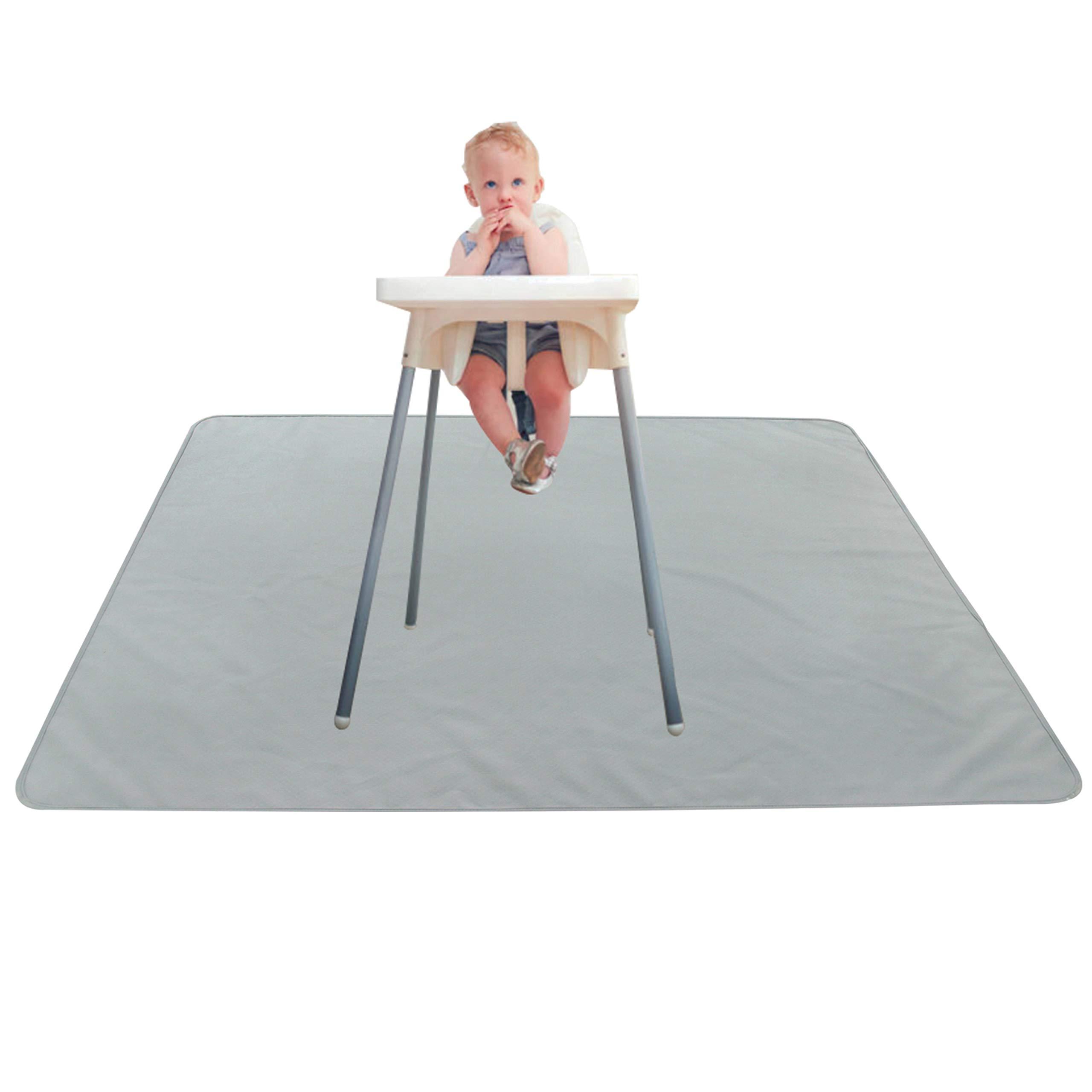 Paw Legend Washable Highchair Splat Floor Mat- Anti-Slip Silicone Spot Splash Mess Mat(53'' X 53'')-Food Catcher Art Craft Leak Proof Mat,Grey by Paw Legend