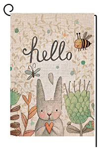 BLKWHT Hello Easter Bunny Garden Flag Vertical Double Sided 12.5 x 18 Inch Spring Rabbit Yard Decor