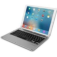 doupi Drahtlose Tastatur für iPad Pro 12,9 Zoll (2015 / 2017), Bluetooth Keyboard Multi-Funktion Taste aufstellbar klappbar wie ein Macbook, Deutsch Layout, silber